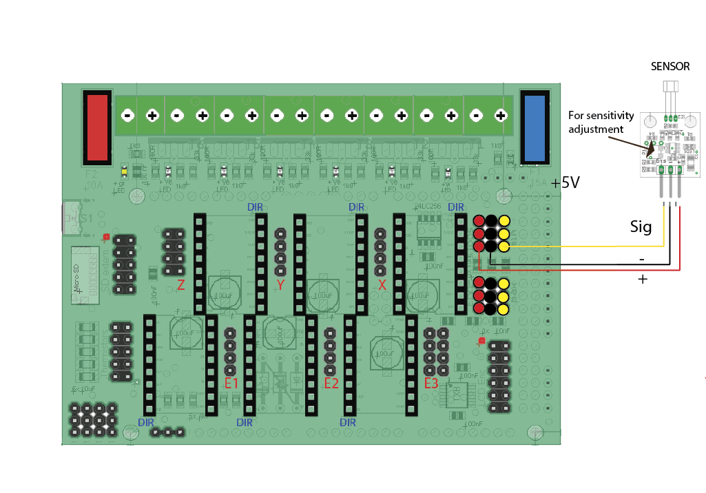 Hall-E Endstops - RADDS Electronics for 3D Printer on